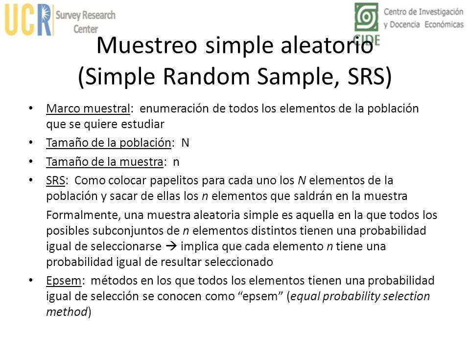 Muestreo simple aleatorio (Simple Random Sample, SRS) Marco muestral: enumeración de todos los elementos de la población que se quiere estudiar Tamaño