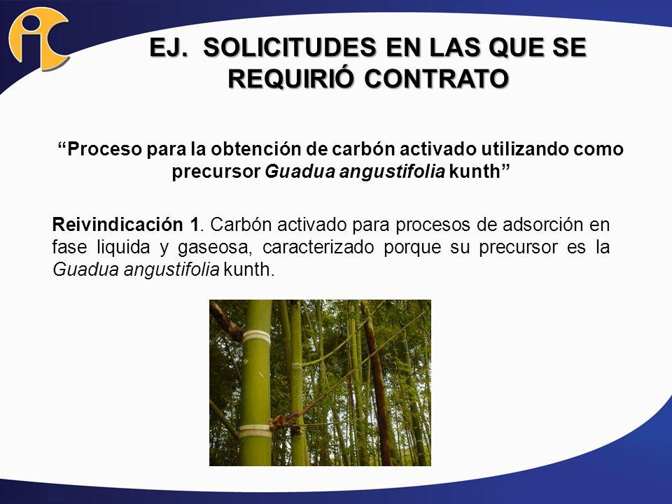 EJ. SOLICITUDES EN LAS QUE SE REQUIRIÓ CONTRATO Proceso para la obtención de carbón activado utilizando como precursor Guadua angustifolia kunth Reivi