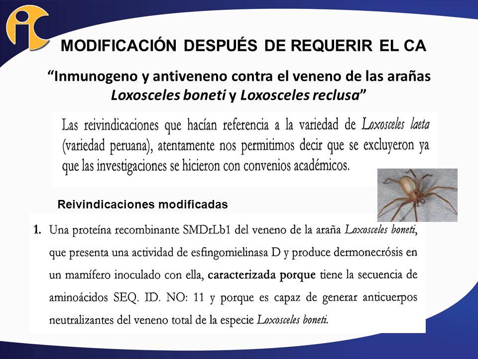 MODIFICACIÓN DESPUÉS DE REQUERIR EL CA Inmunogeno y antiveneno contra el veneno de las arañas Loxosceles boneti y Loxosceles reclusa Reivindicaciones
