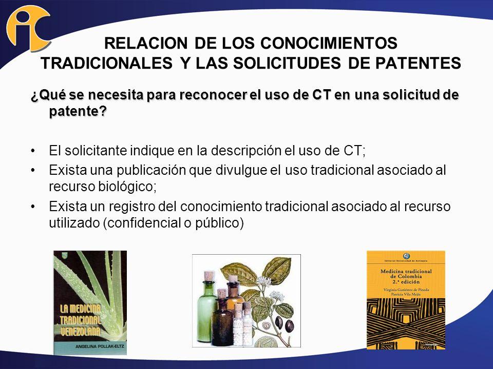 ¿Qué se necesita para reconocer el uso de CT en una solicitud de patente? El solicitante indique en la descripción el uso de CT; Exista una publicació