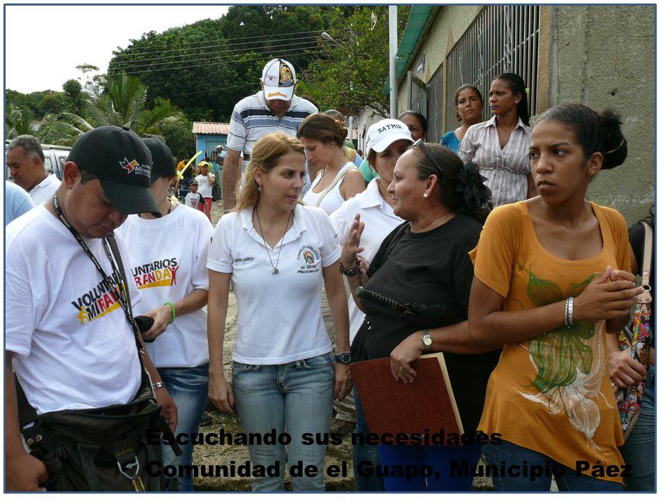 Escuchando sus necesidades Comunidad de el Guapo, Municipio Páez