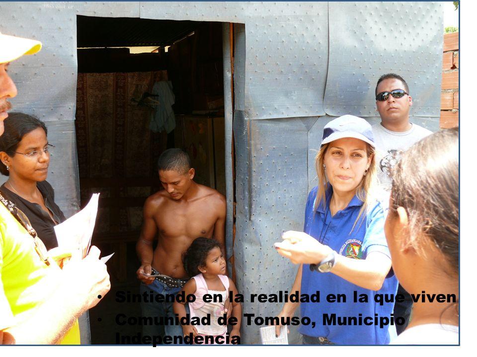 Sintiendo en la realidad en la que viven Comunidad de Tomuso, Municipio Independencia