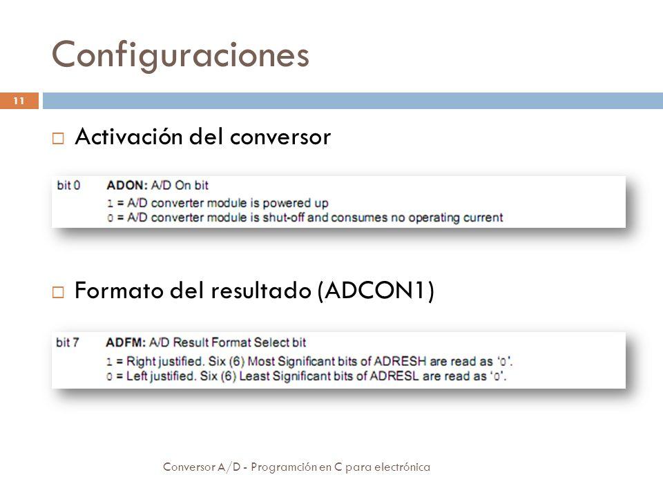 Configuraciones Conversor A/D - Programción en C para electrónica 12 Configuración de entradas
