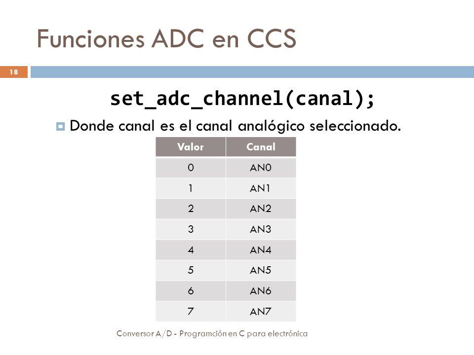 Funciones ADC en CCS Conversor A/D - Programción en C para electrónica 19 Valor = read_adc([modo]); Lectura del resultado de la conversión.