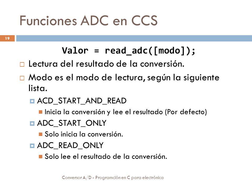 Funciones ADC en CCS Conversor A/D - Programción en C para electrónica 20 Valor = read_adc([modo]); El resultado es un entero de 16 bits.