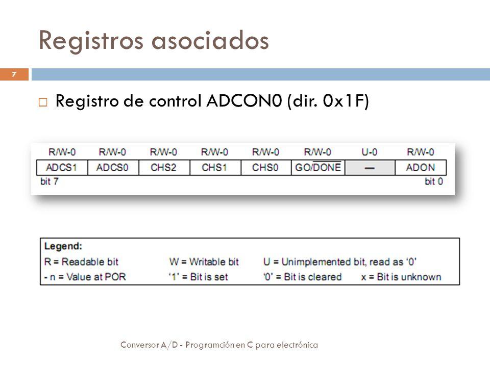 Registros asociados Conversor A/D - Programción en C para electrónica 8 Registro de control ADCON1 (dir.