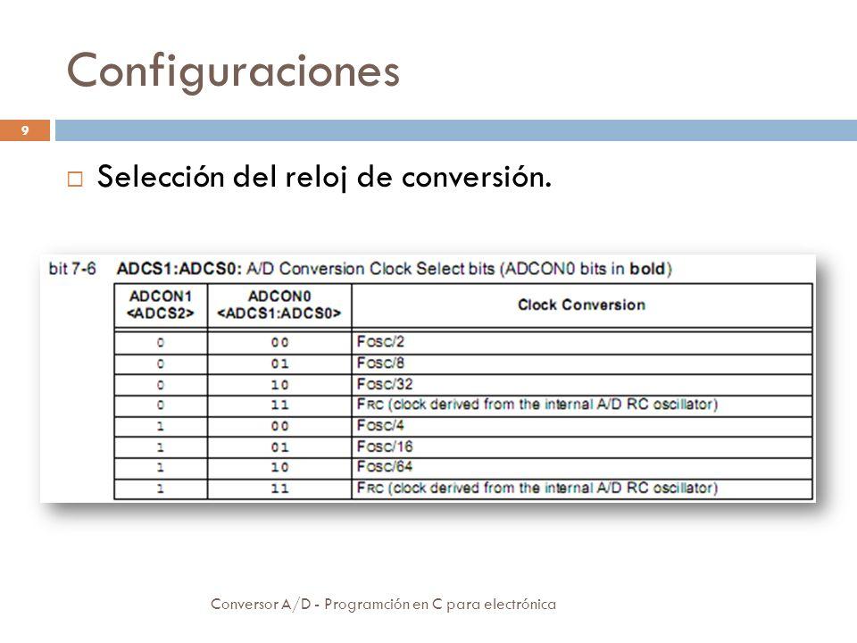 Configuraciones Conversor A/D - Programción en C para electrónica 10 Selección del canal de conversión Estado conversión