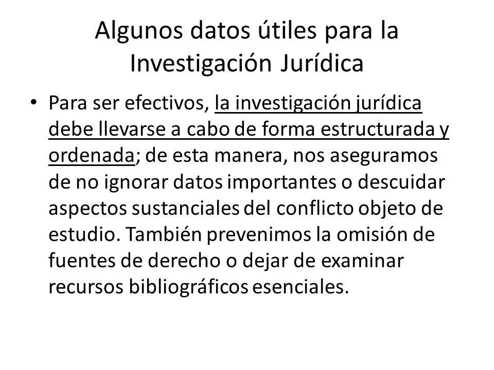 Algunos datos útiles para la Investigación Jurídica Para ser efectivos, la investigación jurídica debe llevarse a cabo de forma estructurada y ordenad