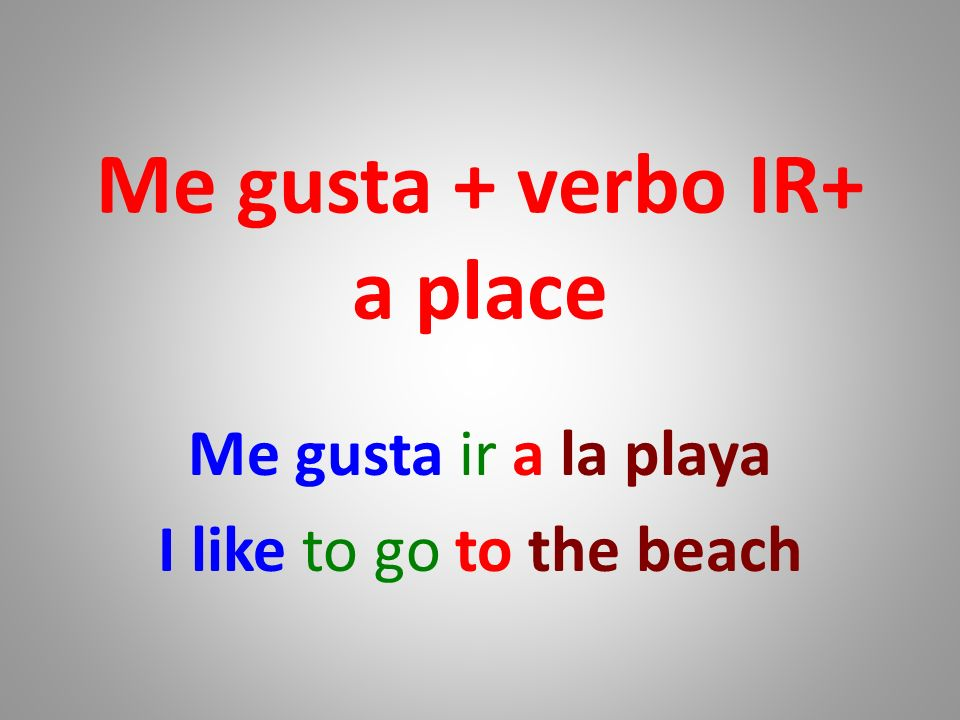 Me gusta + verbo IR+ a place Me gusta ir a la playa I like to go to the beach