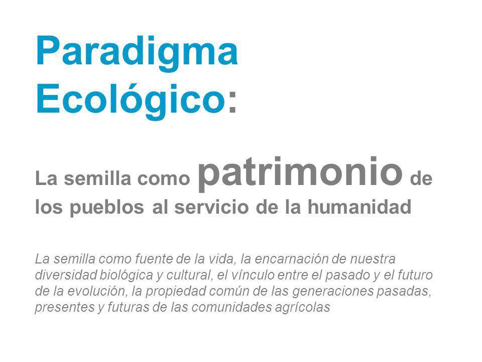 Paradigma Ecológico: La semilla como patrimonio de los pueblos al servicio de la humanidad La semilla como fuente de la vida, la encarnación de nuestr