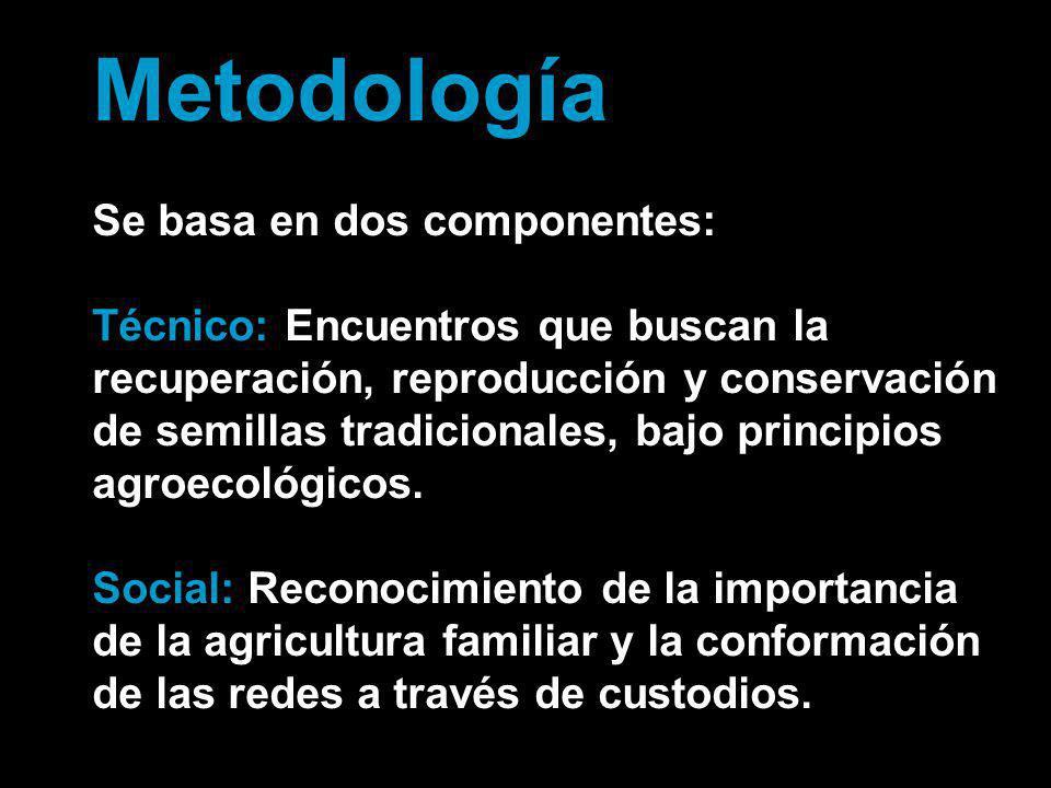 Metodología Se basa en dos componentes: Técnico: Encuentros que buscan la recuperación, reproducción y conservación de semillas tradicionales, bajo pr