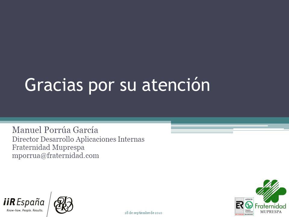 Gracias por su atención Manuel Porrúa García Director Desarrollo Aplicaciones Internas Fraternidad Muprespa mporrua@fraternidad.com 28 de septiembre de 2010