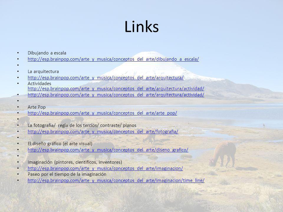 Links Dibujando a escala http://esp.brainpop.com/arte_y_musica/conceptos_del_arte/dibujando_a_escala/ La arquitectura http://esp.brainpop.com/arte_y_m