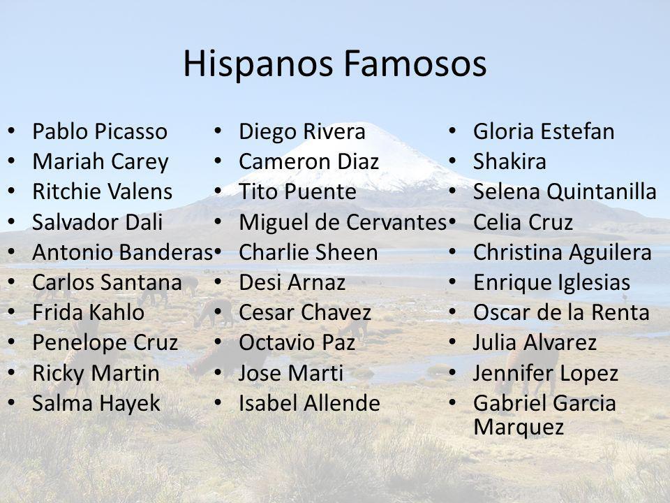 Hispanos Famosos Pablo Picasso Mariah Carey Ritchie Valens Salvador Dali Antonio Banderas Carlos Santana Frida Kahlo Penelope Cruz Ricky Martin Salma