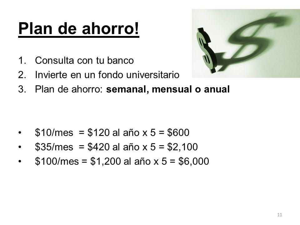 Plan de ahorro! 1.Consulta con tu banco 2.Invierte en un fondo universitario 3.Plan de ahorro: semanal, mensual o anual $10/mes = $120 al año x 5 = $6