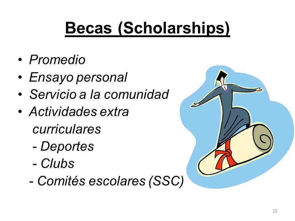 Becas (Scholarships) Promedio Ensayo personal Servicio a la comunidad Actividades extra curriculares - Deportes - Clubs - Comités escolares (SSC) 15