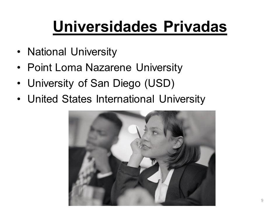 Universidades Privadas National University Point Loma Nazarene University University of San Diego (USD) United States International University 9