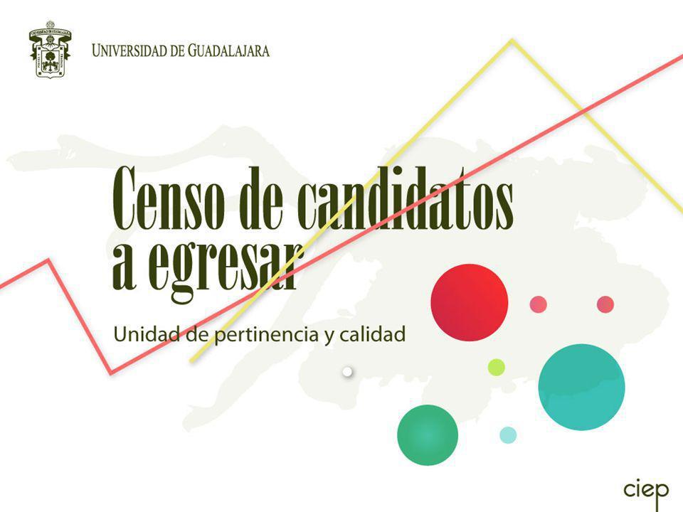 El Censo de CANDIDATOS A EGRESAR tiene como propósito recabar información de los estudiantes que están por concluir su formación de licenciatura o técnico superior universitario en la Universidad de Guadalajara, para conocer su opinión sobre la calidad de los estudios realizados, y las condiciones generales en las que se incorporan al mercado laboral.
