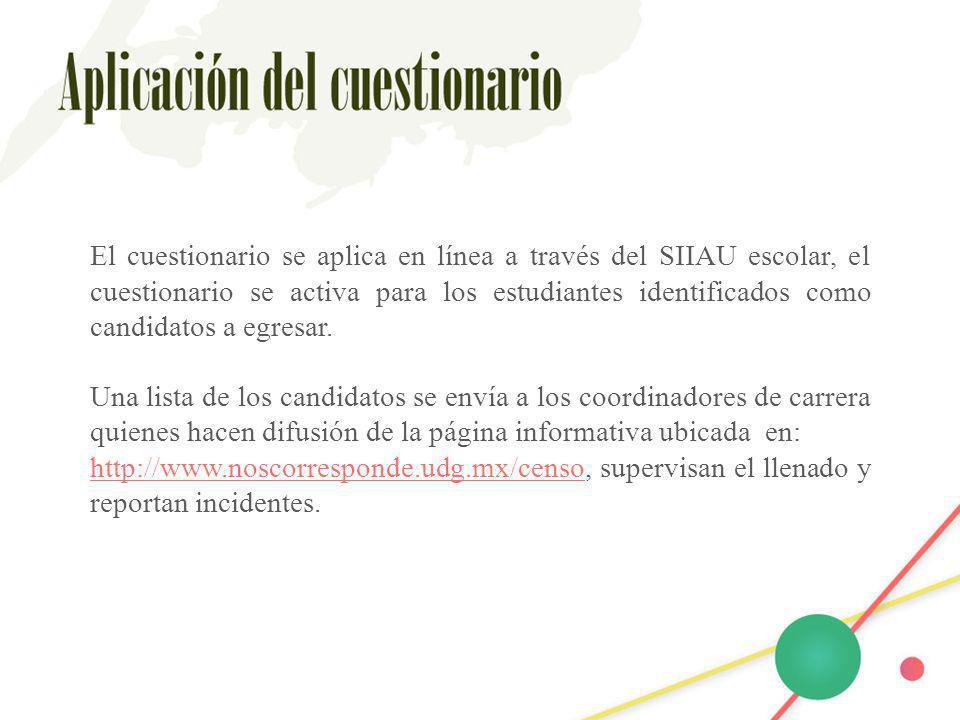 El cuestionario se aplica en línea a través del SIIAU escolar, el cuestionario se activa para los estudiantes identificados como candidatos a egresar.