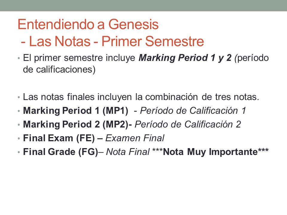 Entendiendo a Genesis - Las Notas - Primer Semestre El primer semestre incluye Marking Period 1 y 2 (período de calificaciones) Las notas finales incl