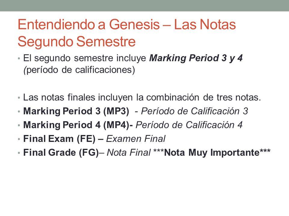 Entendiendo a Genesis – Las Notas Segundo Semestre El segundo semestre incluye Marking Period 3 y 4 (período de calificaciones) Las notas finales incl