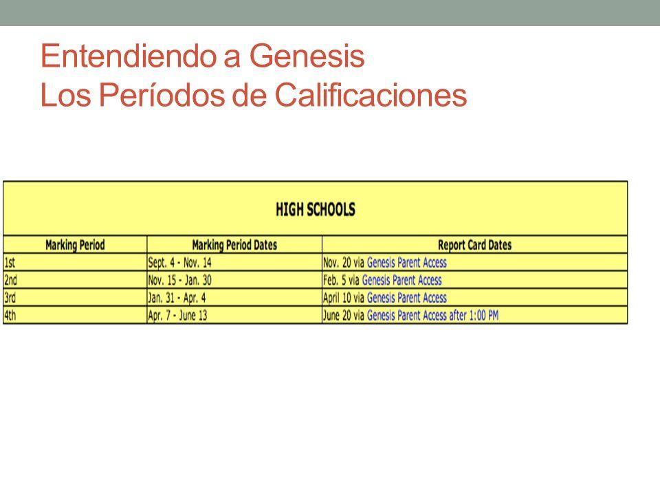 Entendiendo a Genesis Los Períodos de Calificaciones
