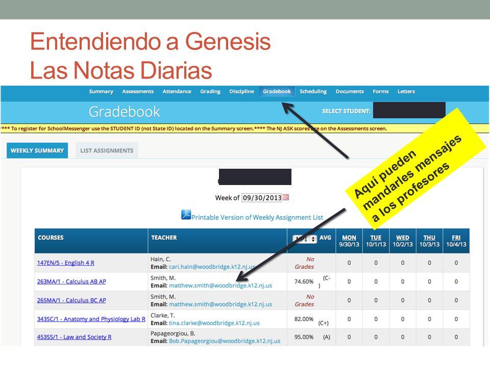 Entendiendo a Genesis Las Notas Diarias Aquí pueden mandarles mensajes a los profesores