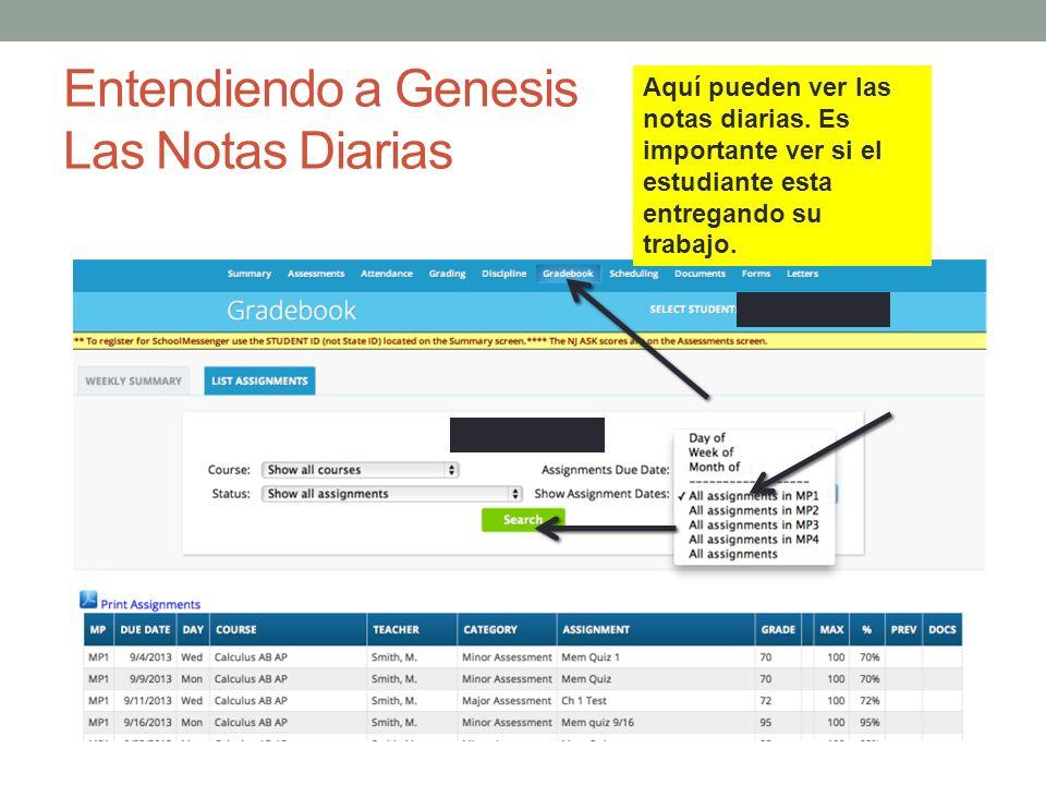 Entendiendo a Genesis Las Notas Diarias Aquí pueden ver las notas diarias. Es importante ver si el estudiante esta entregando su trabajo.