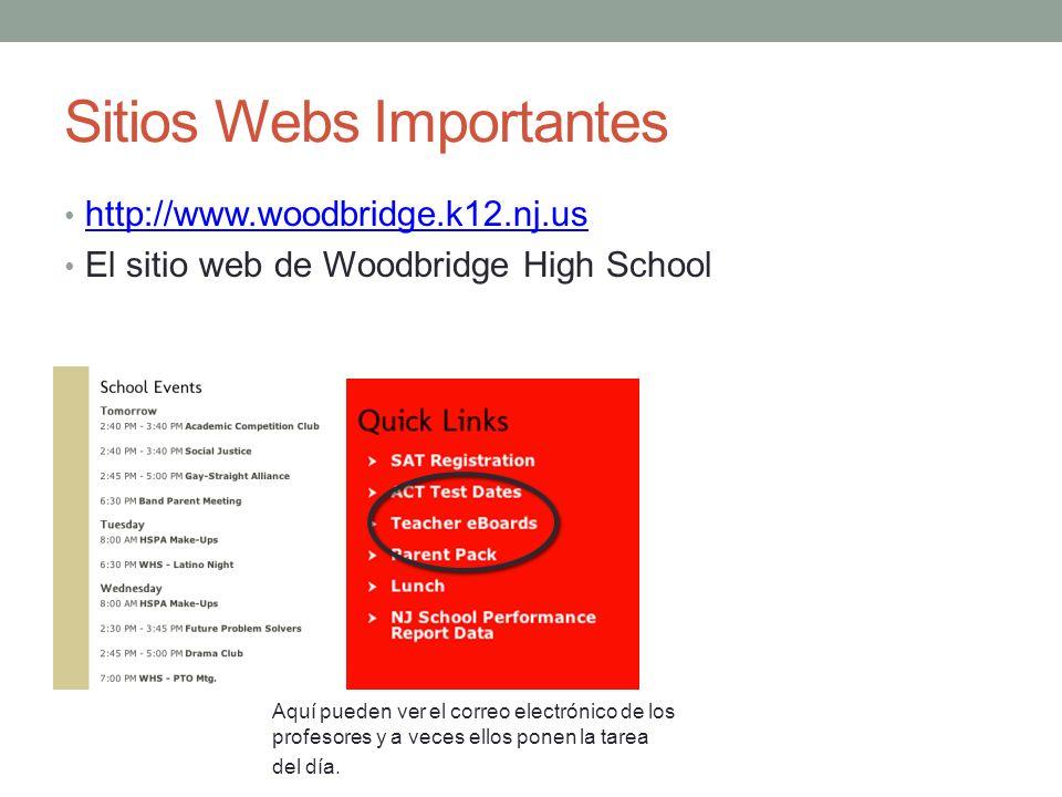 Sitios Webs Importantes http://www.woodbridge.k12.nj.us El sitio web de Woodbridge High School Aquí pueden ver el correo electrónico de los profesores