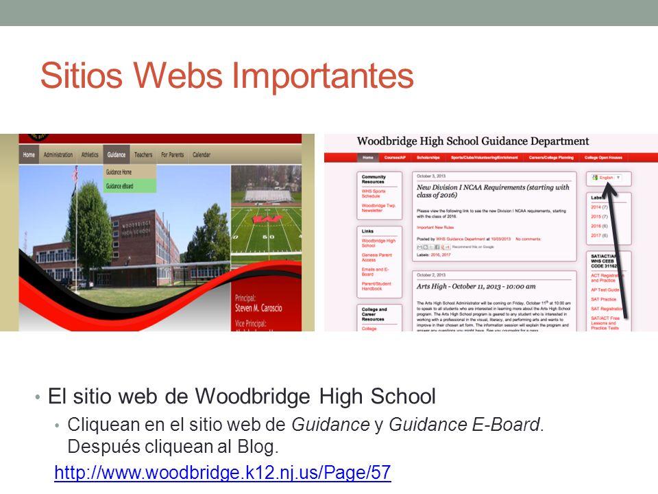 Sitios Webs Importantes El sitio web de Woodbridge High School Cliquean en el sitio web de Guidance y Guidance E-Board. Después cliquean al Blog. http