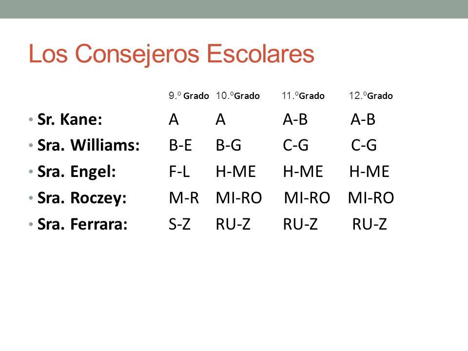 Los Consejeros Escolares 9.º Grado 10.º Grado 11.º Grado 12.º Grado Sr. Kane: AA A-B A-B Sra. Williams:B-EB-G C-G C-G Sra. Engel:F-LH-ME H-ME H-ME Sra