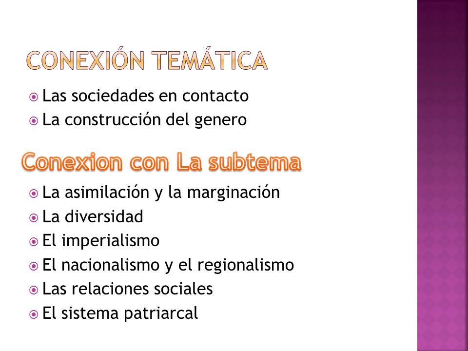 Las sociedades en contacto La construcción del genero La asimilación y la marginación La diversidad El imperialismo El nacionalismo y el regionalismo Las relaciones sociales El sistema patriarcal