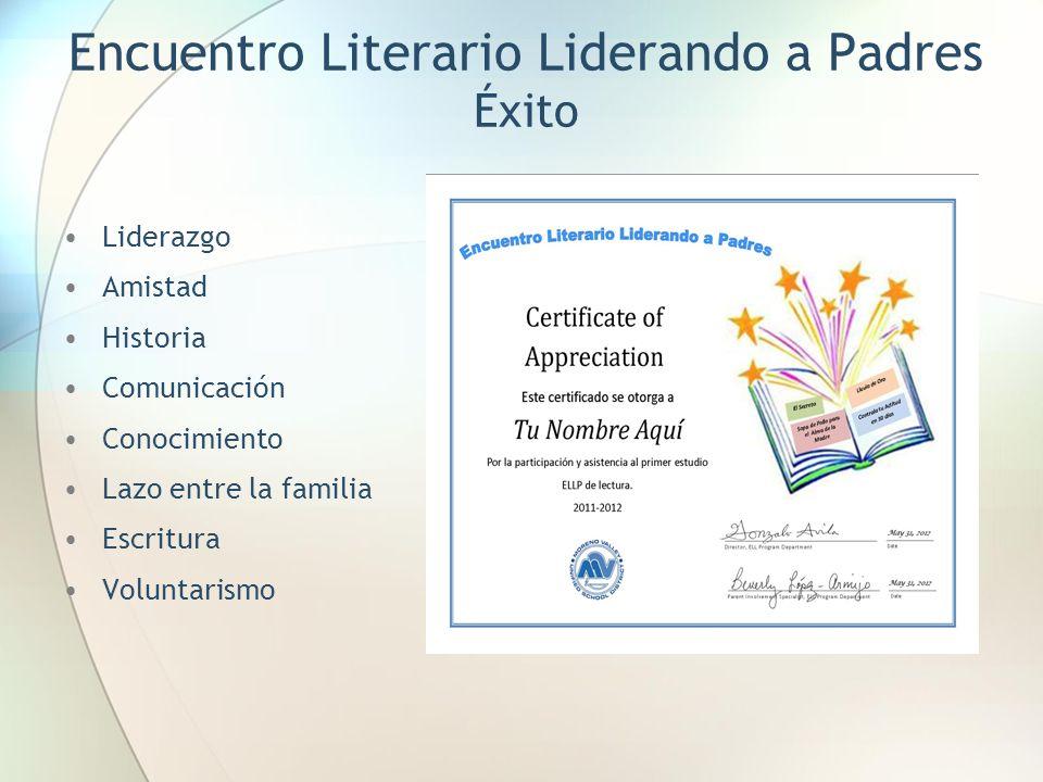 Encuentro Literario Liderando a Padres Éxito Liderazgo Amistad Historia Comunicación Conocimiento Lazo entre la familia Escritura Voluntarismo