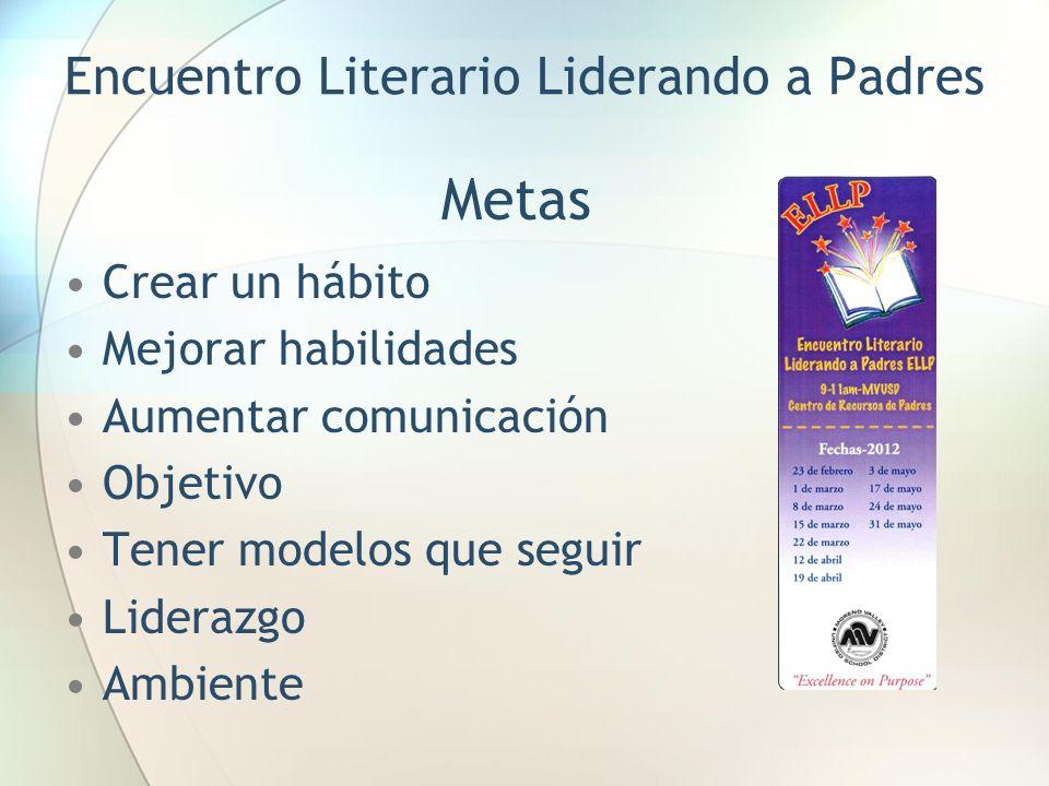 Encuentro Literario Liderando a Padres Metas Crear un hábito Mejorar habilidades Aumentar comunicación Objetivo Tener modelos que seguir Liderazgo Ambiente