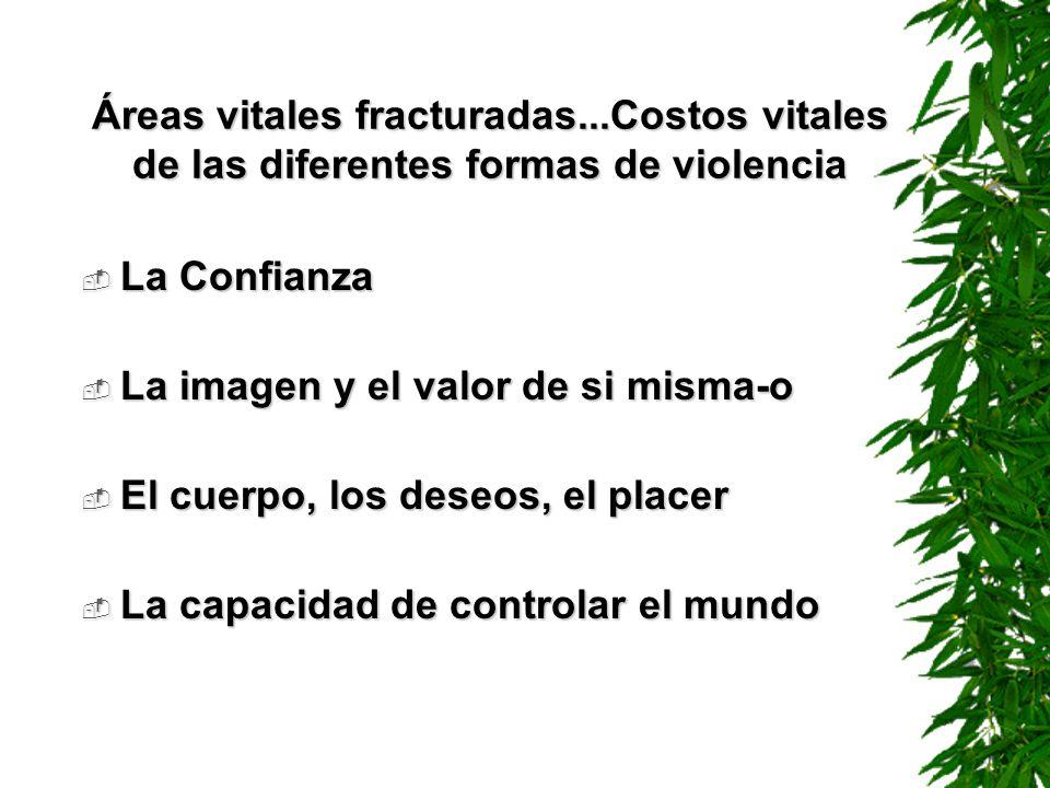 Áreas vitales fracturadas...Costos vitales de las diferentes formas de violencia La Confianza La Confianza La imagen y el valor de si misma-o La image