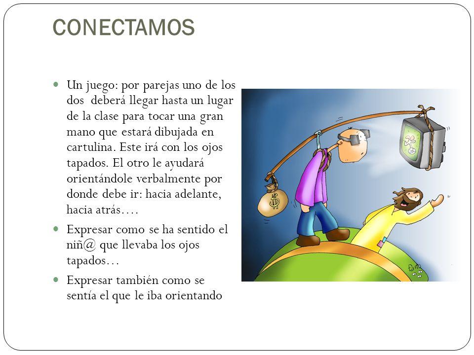 CONECTAMOS Un juego: por parejas uno de los dos deberá llegar hasta un lugar de la clase para tocar una gran mano que estará dibujada en cartulina. Es