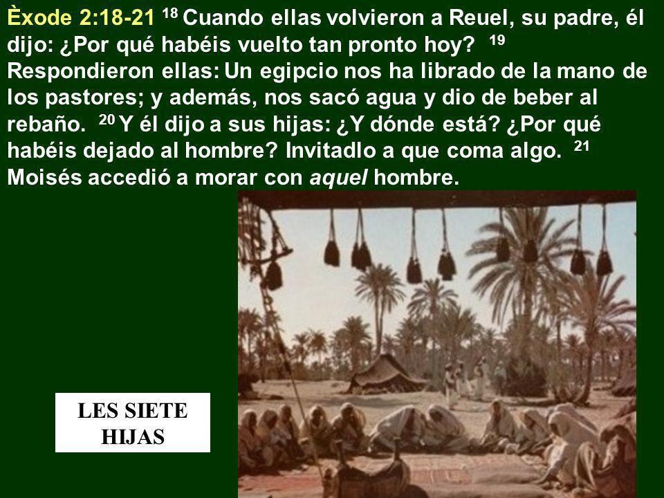 Èxode 2:18-21 18 Cuando ellas volvieron a Reuel, su padre, él dijo: ¿Por qué habéis vuelto tan pronto hoy? 19 Respondieron ellas: Un egipcio nos ha li
