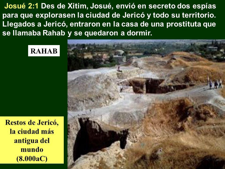 Josué 2:1 Des de Xitim, Josué, envió en secreto dos espías para que explorasen la ciudad de Jericó y todo su territorio. Llegados a Jericó, entraron e