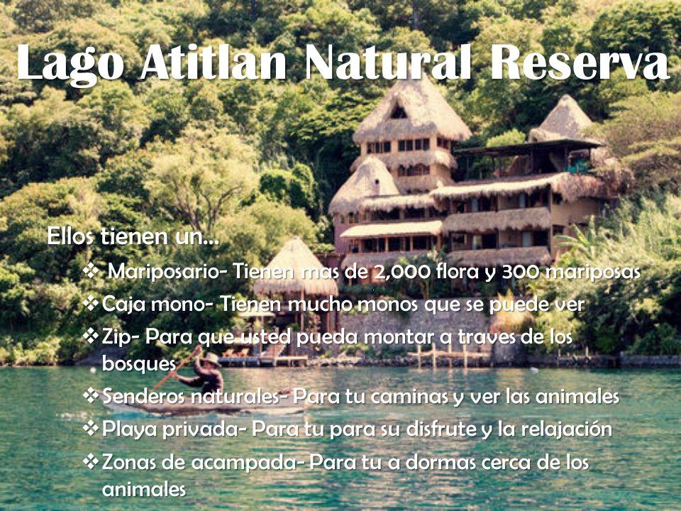 Lago Atitlan Natural Reserva Lago Atitlan Natural Reserva Ellos tienen un… Mariposario- Tienen mas de 2,000 flora y 300 mariposas Mariposario- Tienen