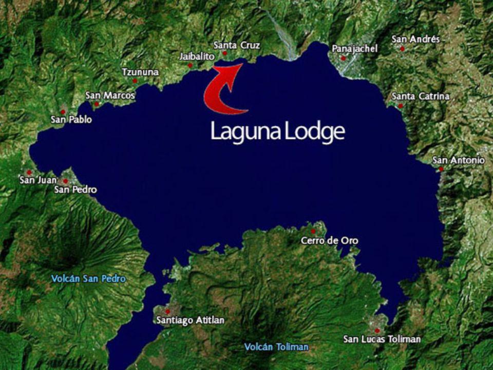 Geografia o Situado en y alrededor del Lago de Atitlan o El Eco Hotel, Laguna Lodge, se coloca sobre una ladera de la montana en el borde del lago de Atitlán o Hay vocanoes que rodean el lago, el mas famoso volcan San Pedro o Abundante forestal y vida silvestre se encuentra en toda la belleza del paisaje