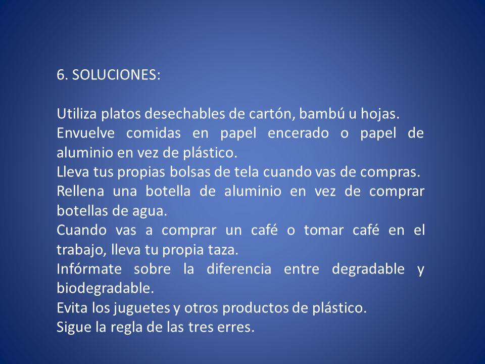 6. SOLUCIONES: Utiliza platos desechables de cartón, bambú u hojas. Envuelve comidas en papel encerado o papel de aluminio en vez de plástico. Lleva t