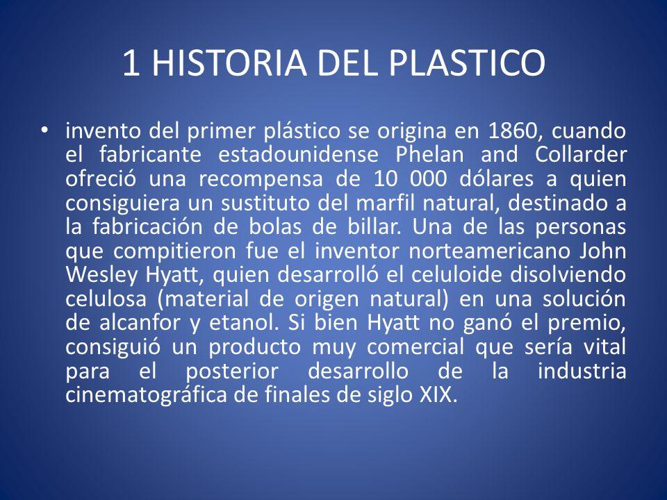 1 HISTORIA DEL PLASTICO invento del primer plástico se origina en 1860, cuando el fabricante estadounidense Phelan and Collarder ofreció una recompens