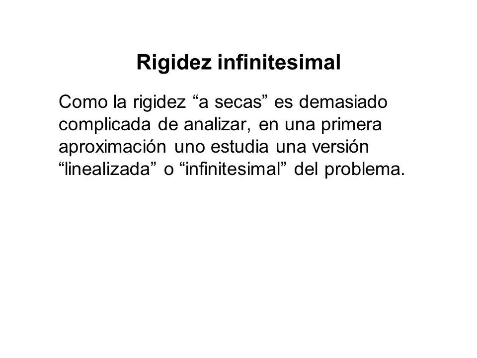 Rigidez infinitesimal Como la rigidez a secas es demasiado complicada de analizar, en una primera aproximación uno estudia una versión linealizada o infinitesimal del problema.