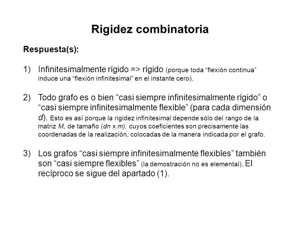 Rigidez combinatoria Respuesta(s): 1)Infinitesimalmente rígido => rígido (porque toda flexión continua induce una flexión infinitesimal en el instante cero).