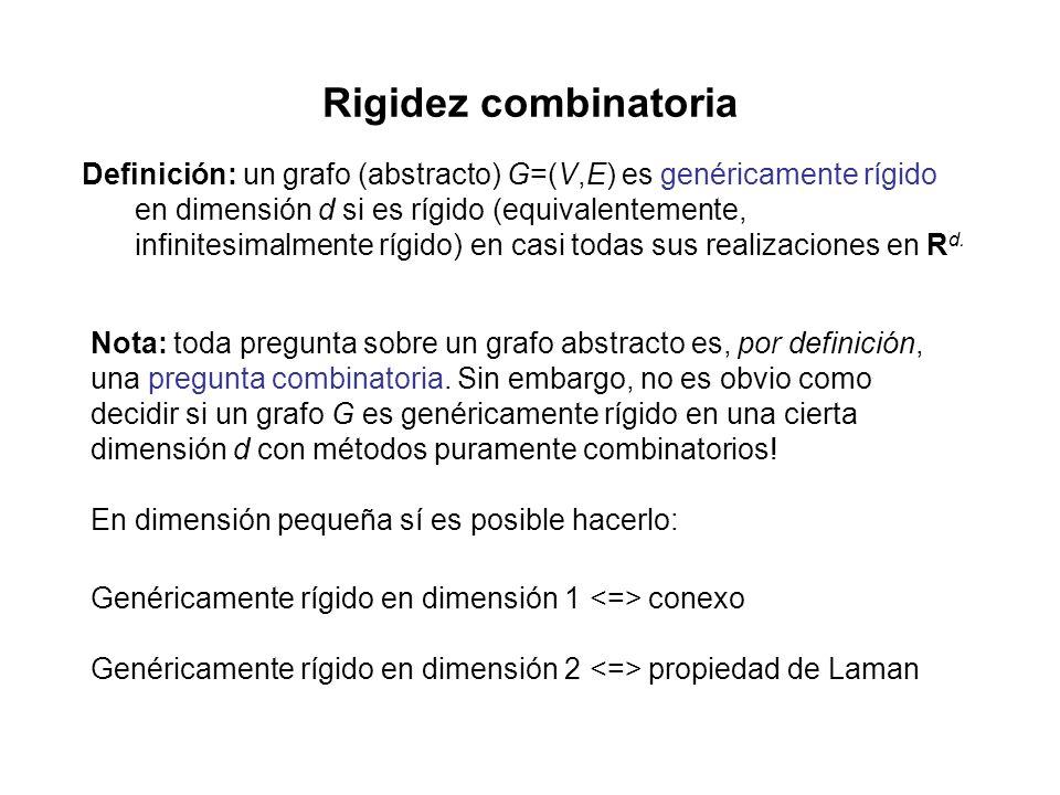 Rigidez combinatoria Definición: un grafo (abstracto) G=(V,E) es genéricamente rígido en dimensión d si es rígido (equivalentemente, infinitesimalmente rígido) en casi todas sus realizaciones en R d.