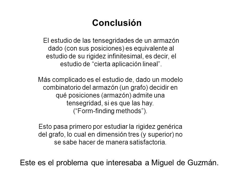 Conclusión El estudio de las tensegridades de un armazón dado (con sus posiciones) es equivalente al estudio de su rigidez infinitesimal, es decir, el estudio de cierta aplicación lineal.