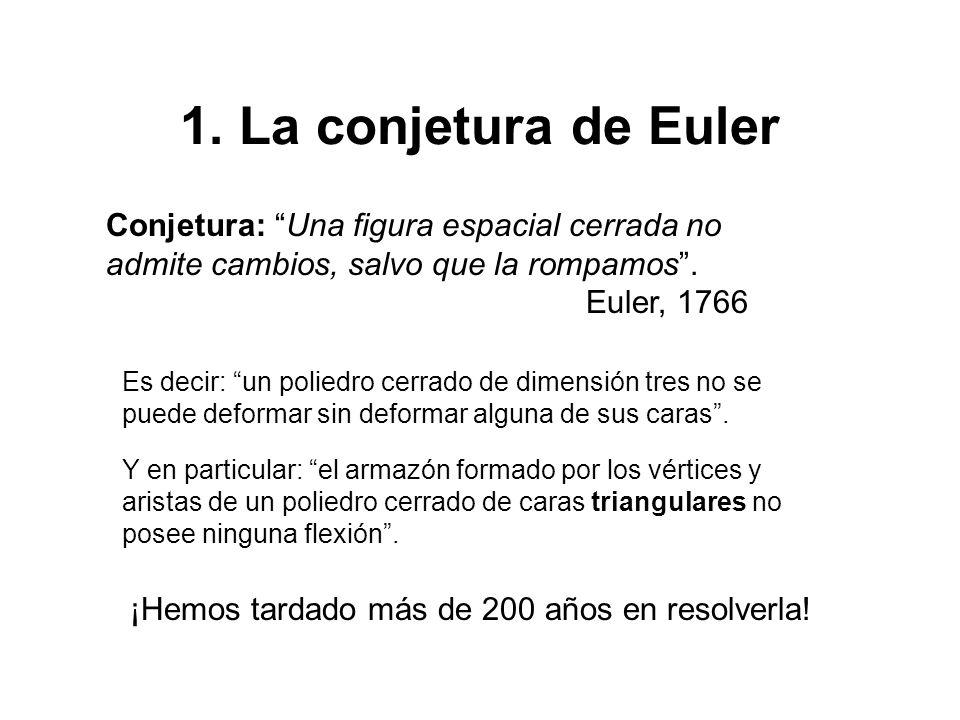 1. La conjetura de Euler Conjetura: Una figura espacial cerrada no admite cambios, salvo que la rompamos. Euler, 1766 Es decir: un poliedro cerrado de