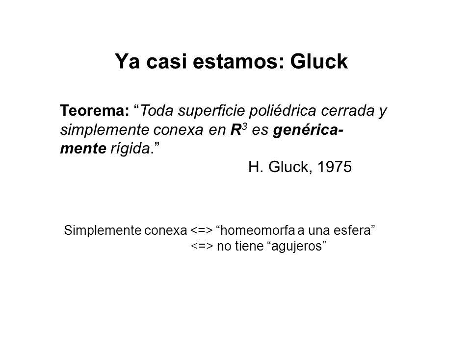 Ya casi estamos: Gluck Teorema: Toda superficie poliédrica cerrada y simplemente conexa en R 3 es genérica- mente rígida.