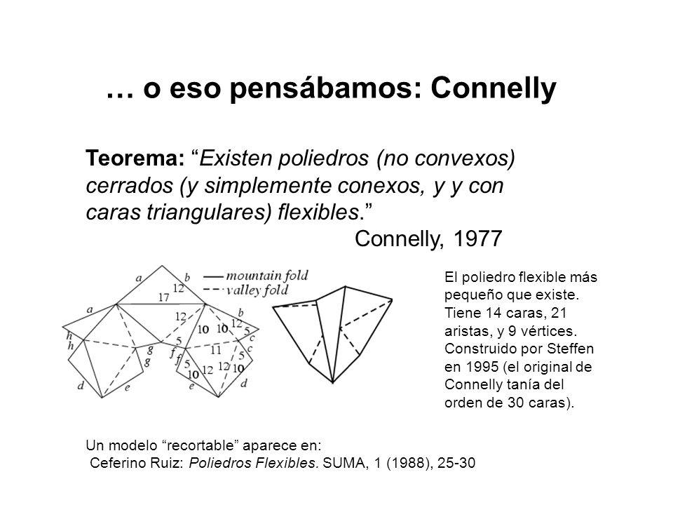 … o eso pensábamos: Connelly Teorema: Existen poliedros (no convexos) cerrados (y simplemente conexos, y y con caras triangulares) flexibles.