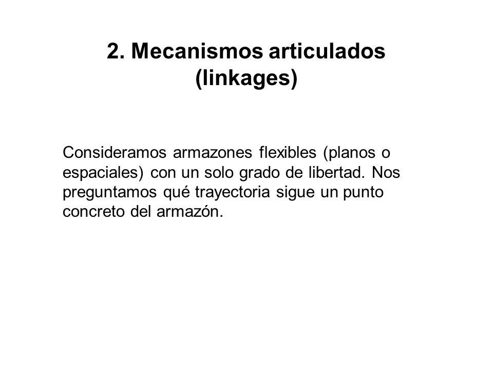 2. Mecanismos articulados (linkages) Consideramos armazones flexibles (planos o espaciales) con un solo grado de libertad. Nos preguntamos qué trayect